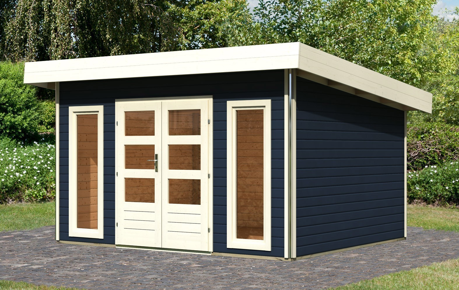 karibu gartenhaus 40mm tecklenburg 1 grau 418x357cm bei. Black Bedroom Furniture Sets. Home Design Ideas
