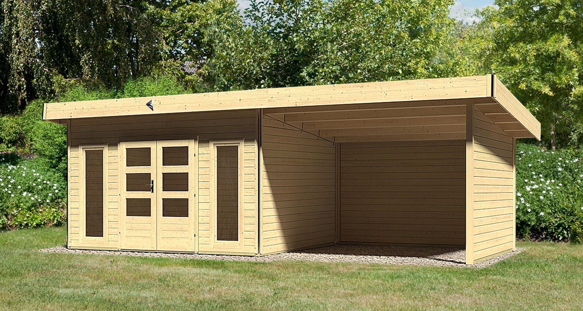 karibu gartenhaus 40mm tecklenburg 1 natur set anbaudach 300cm wand bei. Black Bedroom Furniture Sets. Home Design Ideas