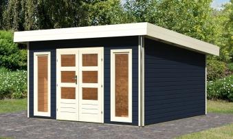 karibu gartenhaus 40mm tecklenburg 2 grau 418x422cm bei. Black Bedroom Furniture Sets. Home Design Ideas