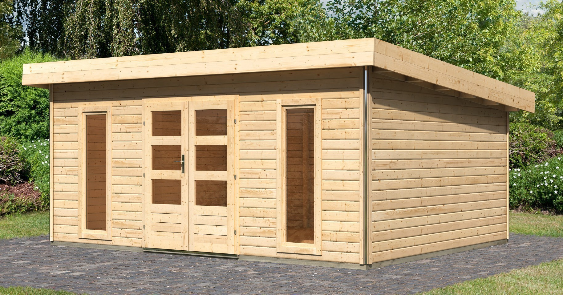 karibu gartenhaus 40mm tecklenburg 3 natur 536x422cm bei. Black Bedroom Furniture Sets. Home Design Ideas