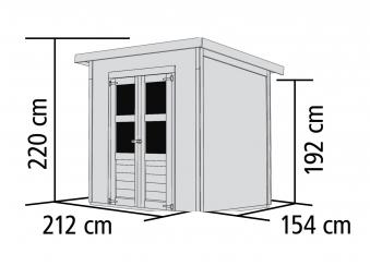 Karibu Gerätehaus 14 mm Merseburg 3 natur 242x182cm Bild 2