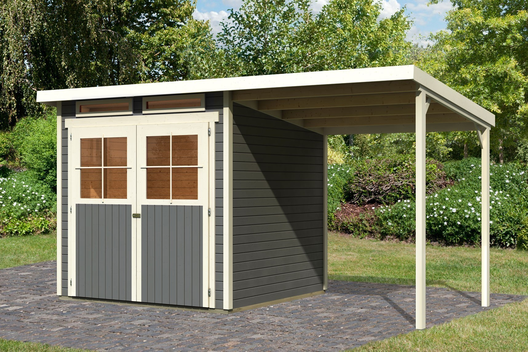 karibu ger tehaus 19 mm gl cksburg 3 terragrau sparset mit. Black Bedroom Furniture Sets. Home Design Ideas
