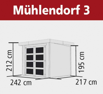 Karibu Gerätehaus 19 mm Mühlendorf 3 terragrau 267x237cm Bild 2