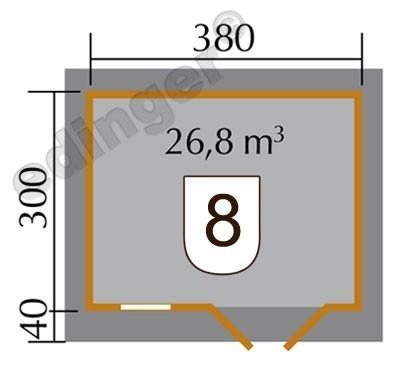 Weka Blockbohlenhaus 28 mm 163 Gr. 4 natur 450x380cm Bild 2