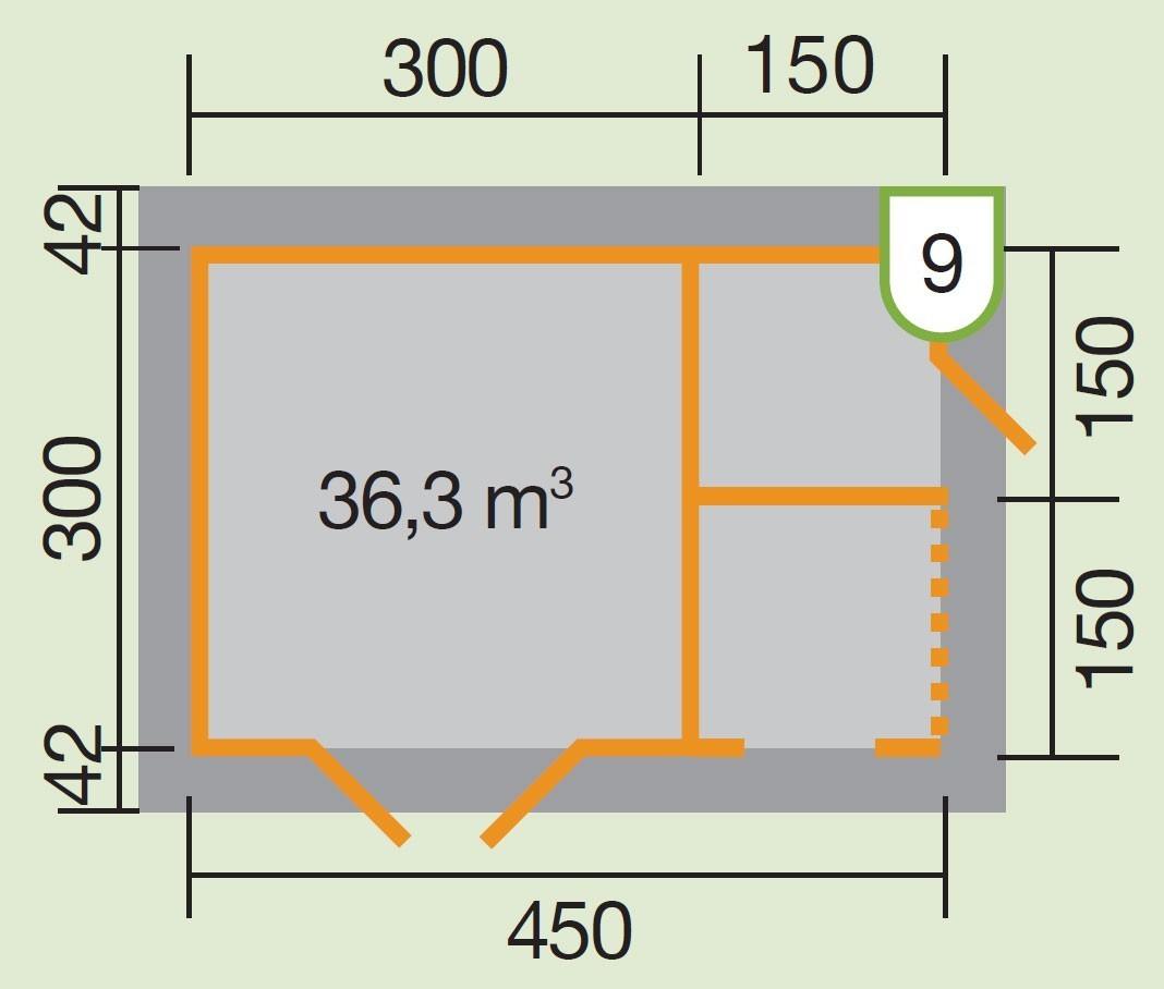 Weka Blockbohlenhaus 28 mm Gartenhaus 150 natur 534x385cm Bild 2