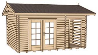 Weka Blockbohlenhaus 28 mm Gartenhaus 150 natur 534x385cm Bild 3