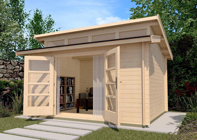 Weka Blockbohlenhaus 28 mm Gartenhaus 158 Gr. 2 natur 430x360cm Bild 1