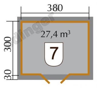 Weka Blockbohlenhaus 28 mm Gartenhaus 158 Gr. 2 natur 430x360cm Bild 2