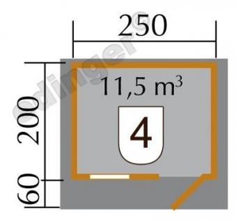 Weka Blockbohlenhaus 28 mm Gartenhaus Premium28FT VD60cm 300x270cm Bild 2