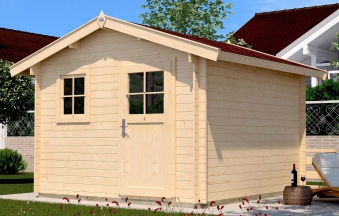 Weka Blockbohlenhaus 28 mm Gartenhaus Premium28FT VD60cm 380x320cm Bild 1