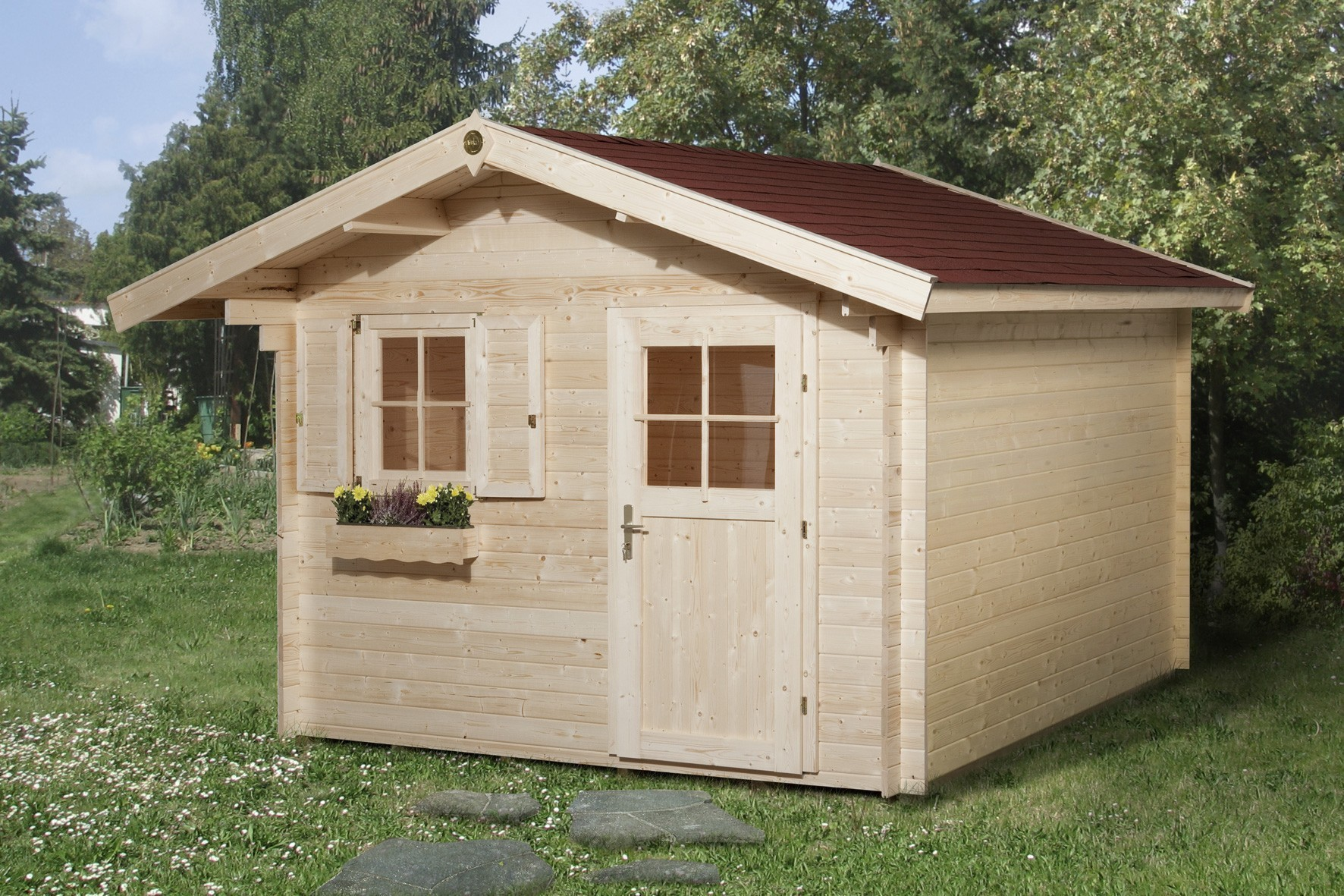 Weka Blockbohlenhaus 28 mm Gartenhaus Premium28FT VD60cm 380x370cm Bild 1