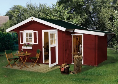 Weka Blockbohlenhaus 28 mm Gartenhaus Premium28FT VD60cm 380x370cm Bild 3