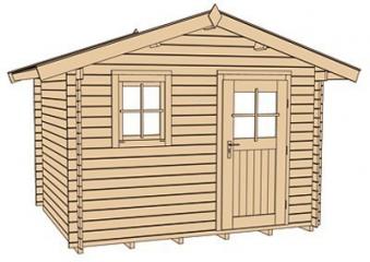 Weka Blockbohlenhaus 28 mm Gartenhaus Premium28FT VD60cm 380x370cm Bild 4