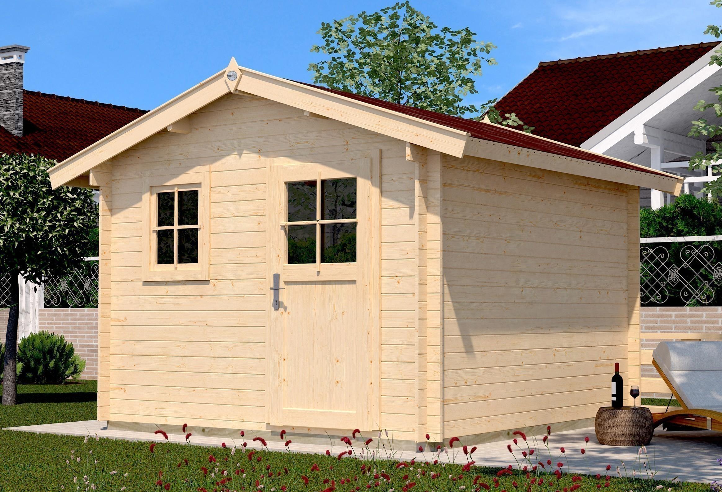 Weka Blockbohlenhaus 28 mm Gartenhaus Premium28FT natur 300x280cm Bild 1