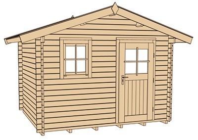 Weka Blockbohlenhaus 28 mm Gartenhaus Premium28FT natur 380x280cm Bild 3