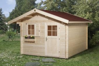 Weka Blockbohlenhaus 28 mm Gartenhaus Premium28FT natur 380x330cm Bild 1