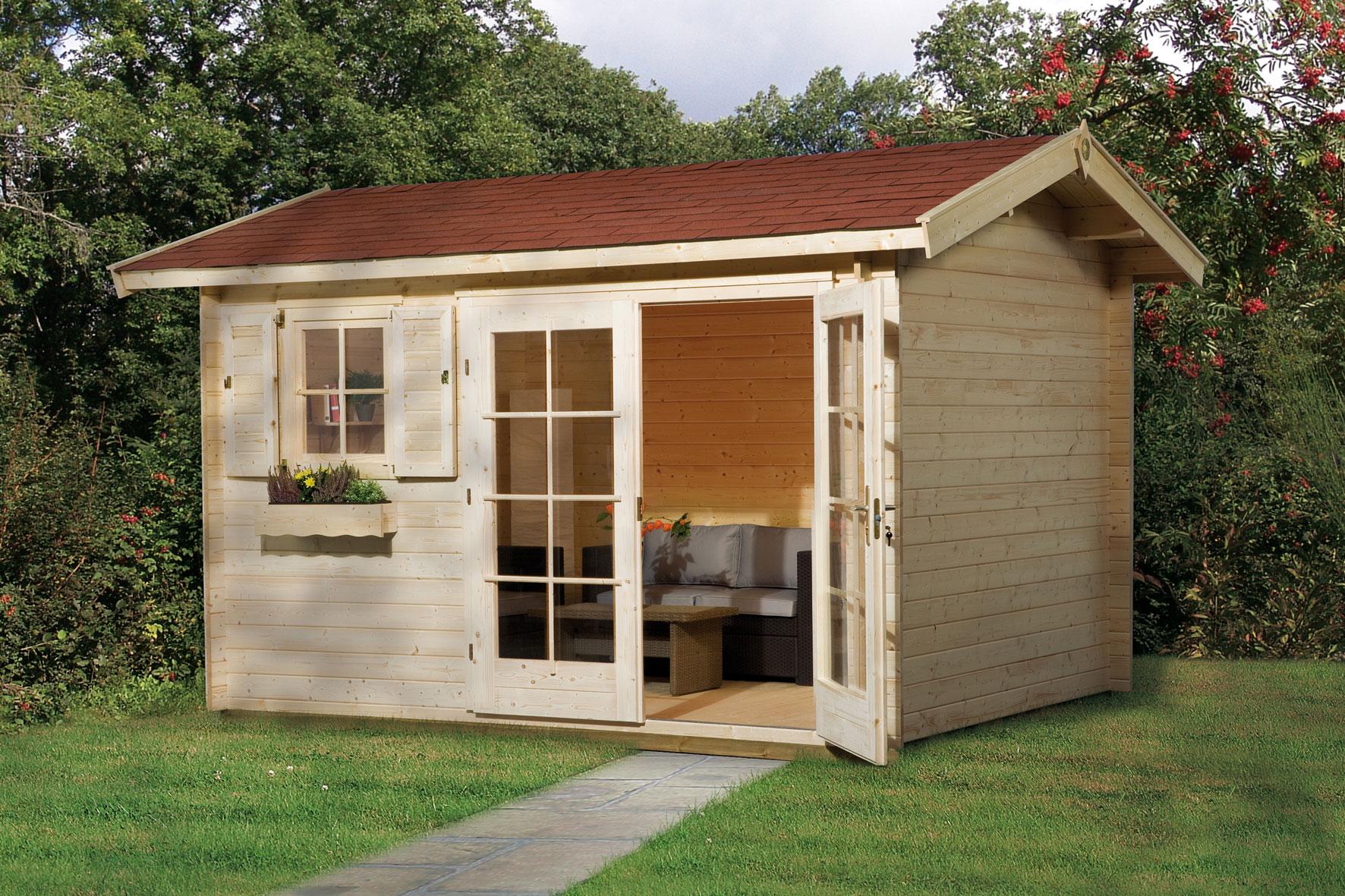 blockbohlen gartenhaus top gartenhaus skanholz gent. Black Bedroom Furniture Sets. Home Design Ideas