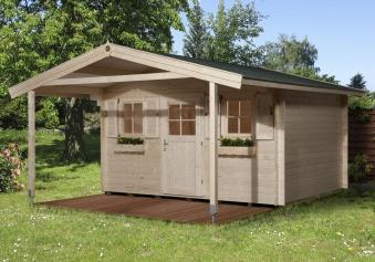 Weka Blockbohlenhaus 45 mm Gartenhaus 135A Gr.1 460x510cm Vordach Bild 1