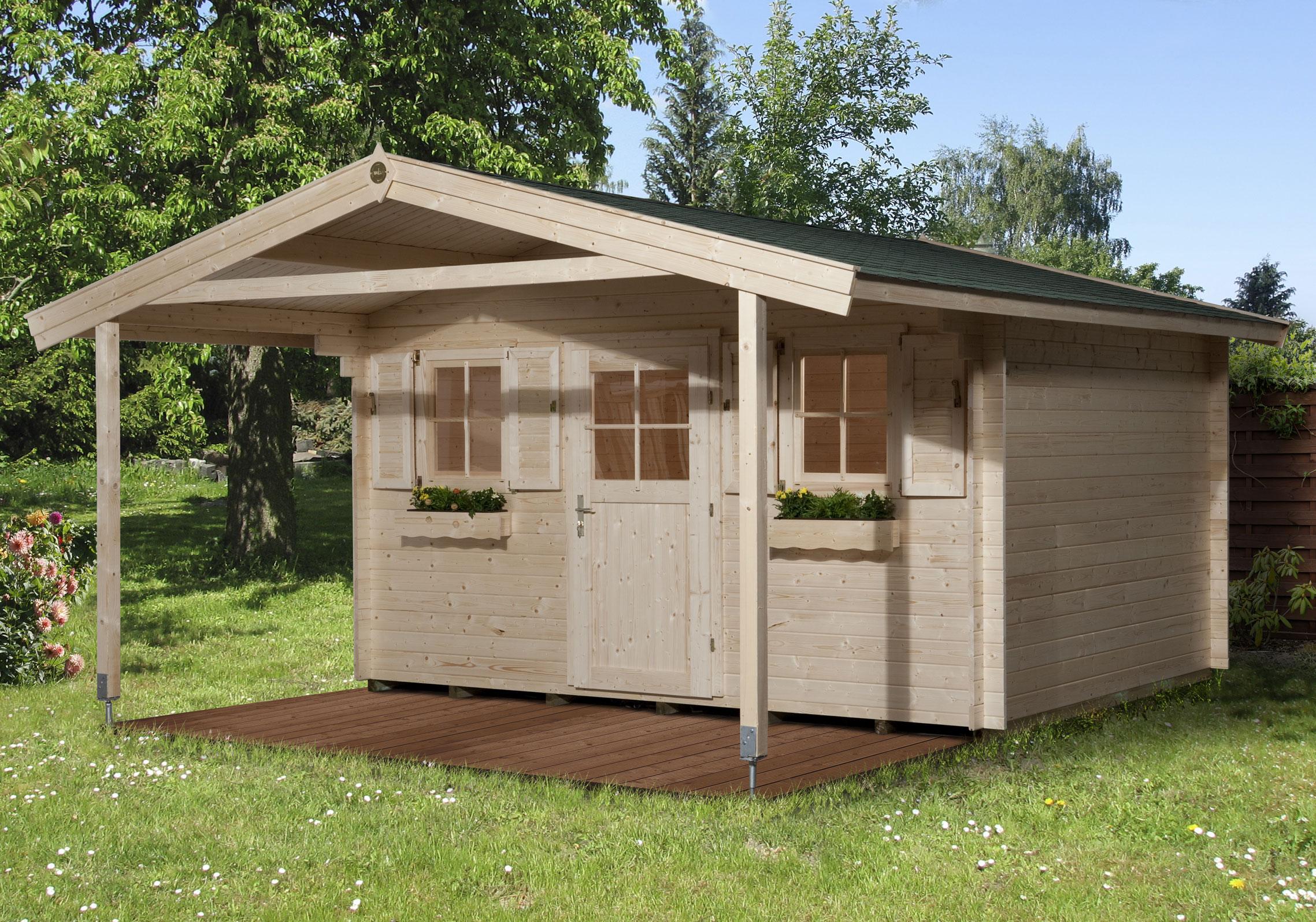 Weka Blockbohlenhaus 45 mm Gartenhaus 135A Gr.2 460x590cm mit Vordach Bild 1