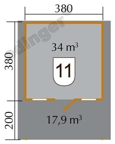 Weka Blockbohlenhaus 45 mm Gartenhaus 135A Gr.2 460x590cm mit Vordach Bild 2