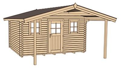 Weka Blockbohlenhaus 45 mm Gartenhaus 135A Gr.2 460x590cm mit Vordach Bild 3