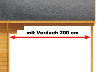 Weka Blockbohlenhaus 45 mm Gartenhaus 135A Gr.2 460x590cm mit Vordach Bild 4
