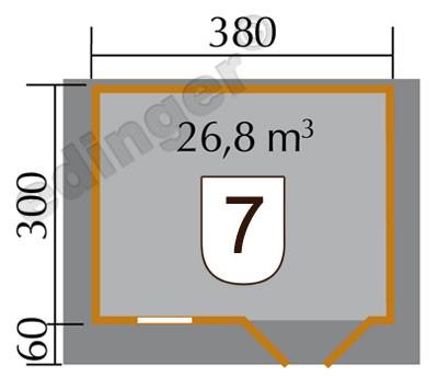 Weka Blockbohlenhaus 45 mm Gartenhaus 136 Gr. 1 VD natur 460x370cm Bild 2