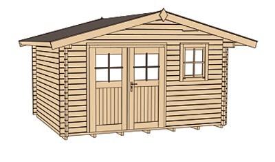 Weka Blockbohlenhaus 45 mm Gartenhaus 136 Gr. 1 VD natur 460x370cm Bild 3