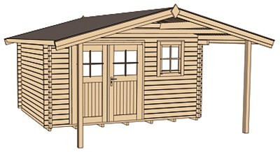 Weka Blockbohlenhaus 45 mm Gartenhaus 136A Gr. 1 natur 460x510cm Bild 3
