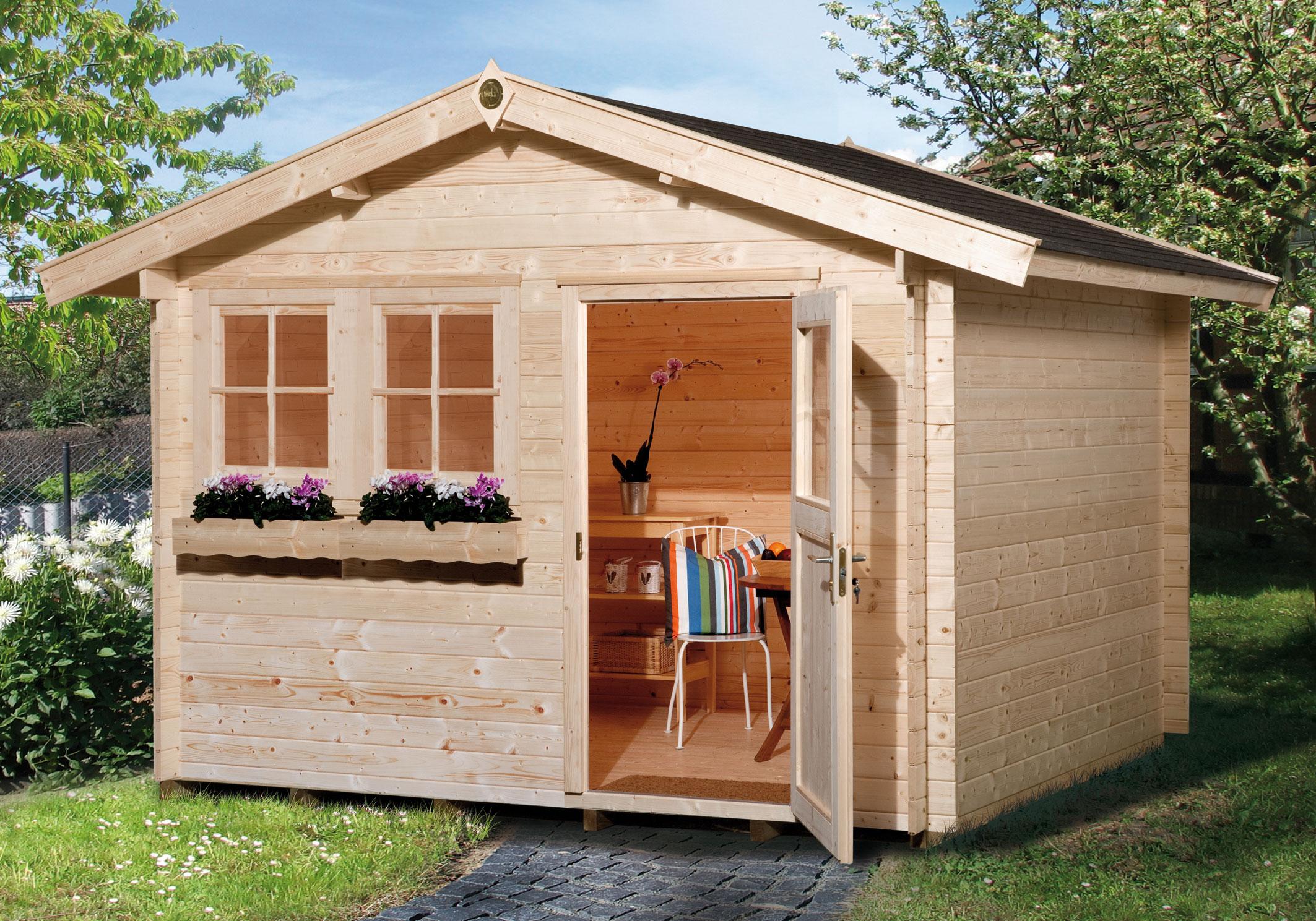 weka blockbohlenhaus 45 mm gartenhaus 139 gr 3 natur 380x410cm bei. Black Bedroom Furniture Sets. Home Design Ideas