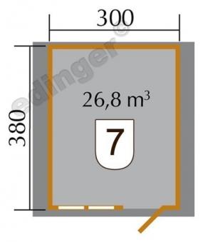 Weka Blockbohlenhaus 45 mm Gartenhaus 139 Gr.3 natur 380x410cm Bild 2
