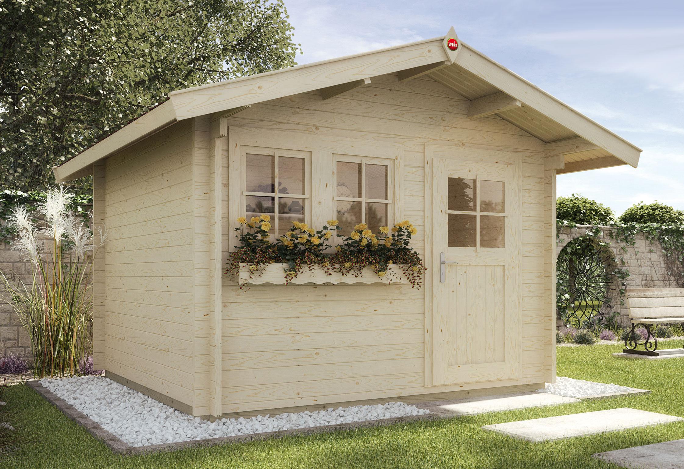 Weka Blockbohlenhaus 45 mm Gartenhaus 139A Gr.1 natur 380x320cm Bild 1
