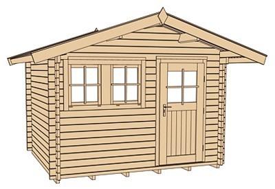 Weka Blockbohlenhaus 45 mm Gartenhaus 139A Gr.1 natur 380x320cm Bild 4