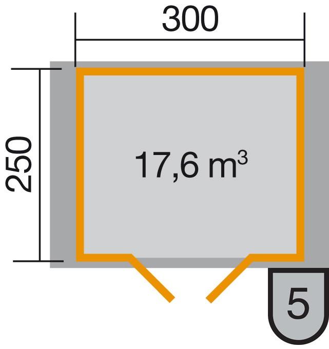Weka Blockbohlenhaus 45 mm Gartenhaus Premium45DT 380x280cm Bild 2