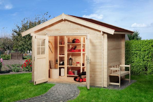 Weka Blockbohlenhaus 45 mm Gartenhaus Premium45DT Gr. 3 380x330cm Bild 1