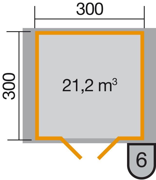 Weka Blockbohlenhaus 45 mm Gartenhaus Premium45DT Gr. 3 380x330cm Bild 2