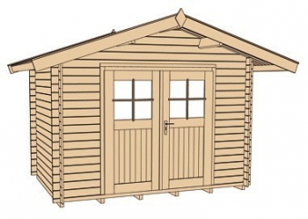 Weka Blockbohlenhaus 45 mm Gartenhaus Premium45DT Gr. 3 380x330cm Bild 3