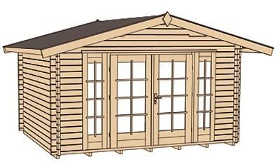 Weka Blockbohlenhaus 45 mm Weekendhaus 137 Gr.1 natur 460x370cm Bild 3