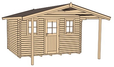 Weka Blockbohlenhaus 45 mm Weekendhaus 138A Gr.2 460x590cm mit Vordach Bild 3