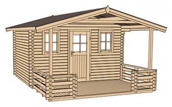 Weka Blockbohlenhaus 45 mm Weekendhaus 138B Gr.1 460x510cm VD+Terrasse Bild 3