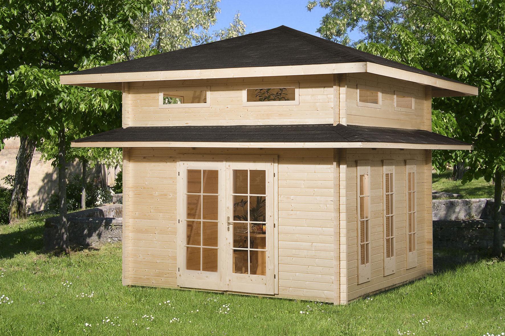 Weka blockbohlenhaus 45 mm weekendhaus 157 natur 524x524cm bei - Abri de jardin pavillon ...
