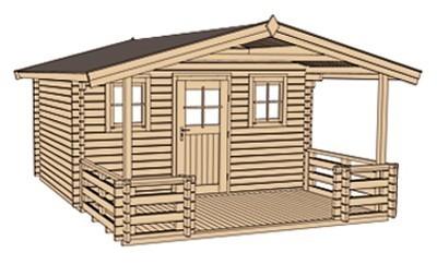 Weka Blockbohlenhaus 45mm Gartenhaus 135B Gr. 1 460x510cm VD+Terrasse Bild 3