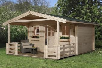 Weka Blockbohlenhaus 45mm Gartenhaus 135B Gr. 1 460x510cm VD+Terrasse Bild 1