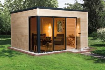 Weka Design Gartenhaus Cubilis natur 390x390cm Bild 1