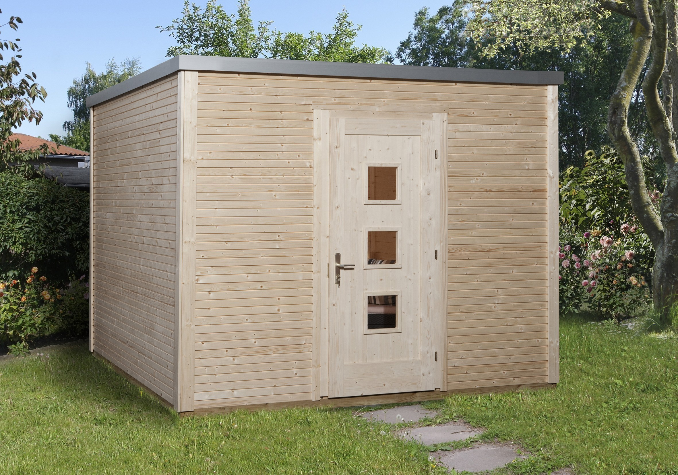 weka gartenhaus designhaus wekaline 413 gr 1 natur. Black Bedroom Furniture Sets. Home Design Ideas