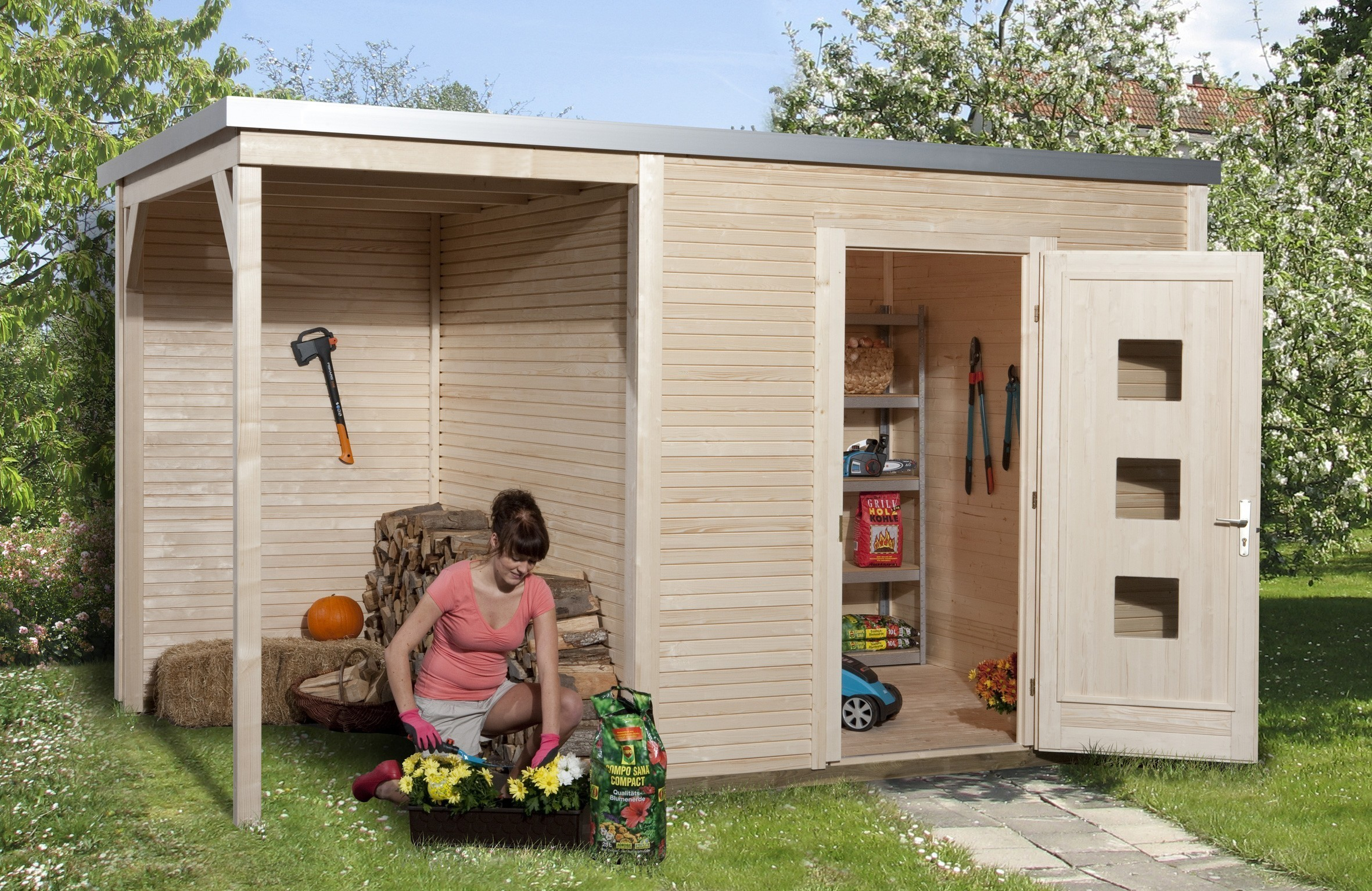 weka gartenhaus designhaus wekaline 413a gr 2 natur 460x310cm bei. Black Bedroom Furniture Sets. Home Design Ideas