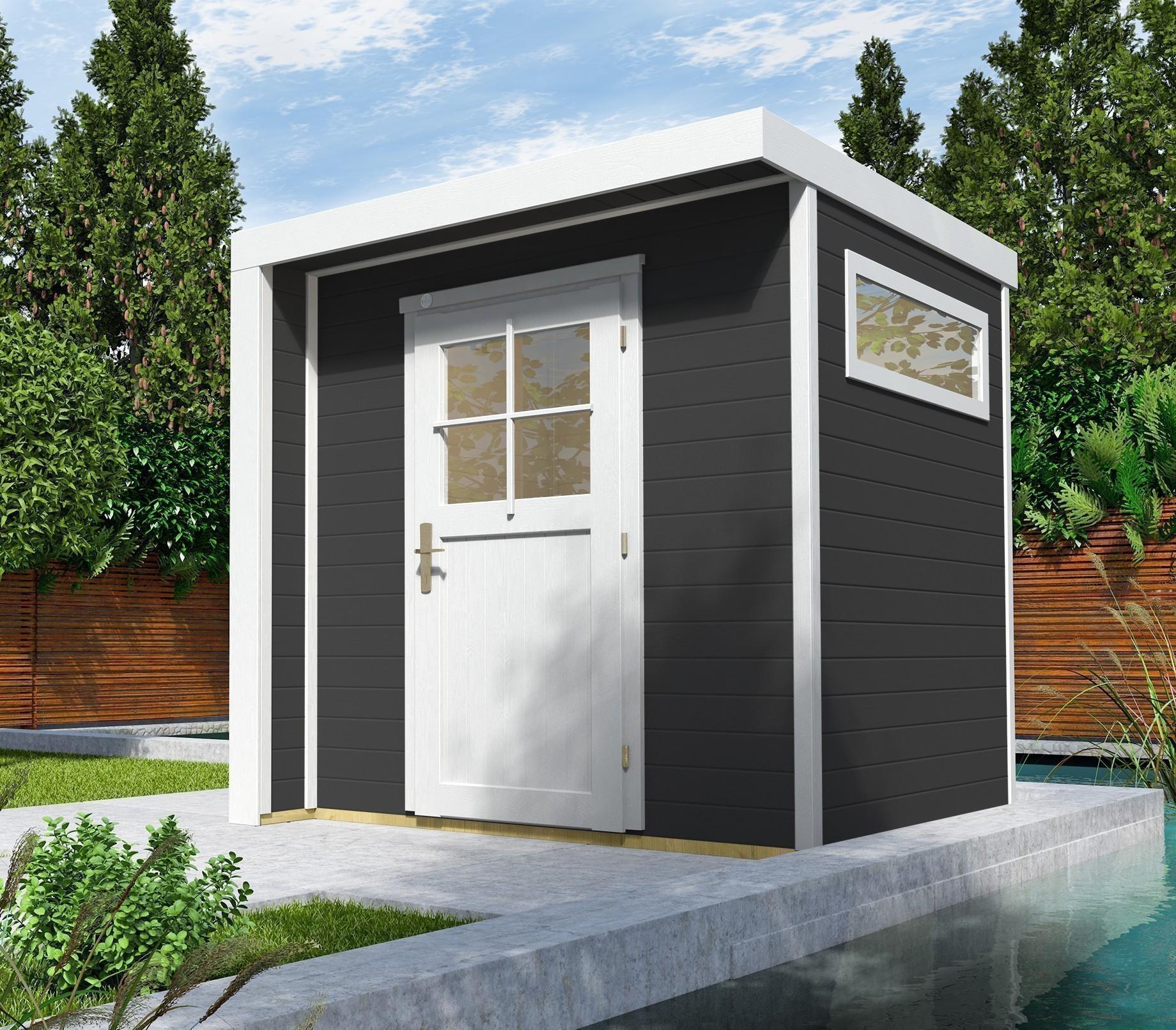weka gartenhaus 21 mm designhaus 262 anthrazit 214x215cm bei. Black Bedroom Furniture Sets. Home Design Ideas