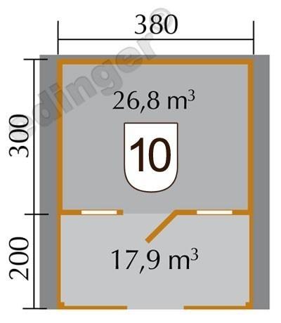 Weka Gartenhaus 28 mm 110 B Gr. 1 natur 460x510cm Vordach+Terrasse Bild 2
