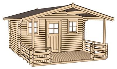 Weka Gartenhaus 28 mm 110 B Gr. 1 natur 460x510cm Vordach+Terrasse Bild 3