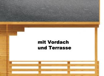 Weka Gartenhaus 28 mm 110 B Gr. 1 natur 460x510cm Vordach+Terrasse Bild 4
